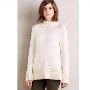 Anthropologie mockneck embroidered pullover